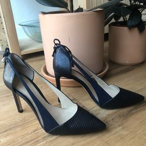 ZARA Navy blue leather and suede heels, size 38
